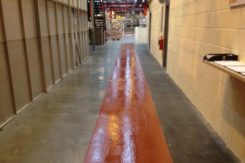 Fresh paint for warehouse pedestrian walkway