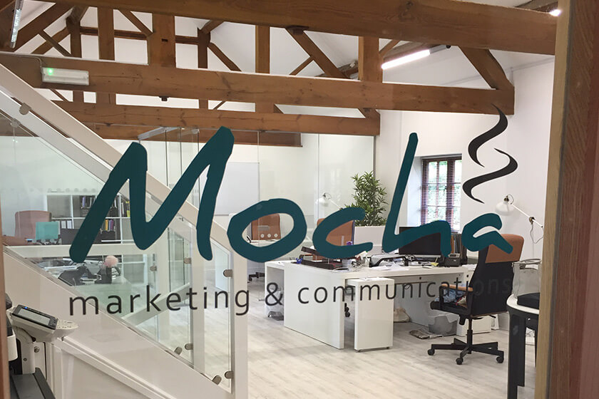 New glass partion and flooring installed at Mocha Marketing's new office