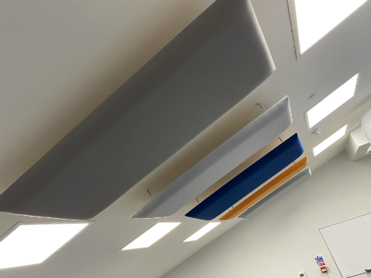 Ceiling mounted acoustic panels