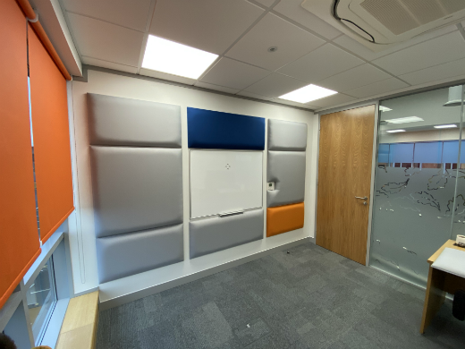 Wall mounted acoustic panels in office