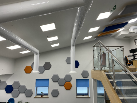 Open plan office with acoustic panels
